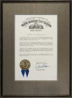 Letter of welcome, to Cyril Molyneaux, Mayor, City of Berwick, from the Ohio Senate