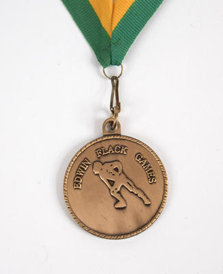 Medal with lanyard, Edwin Flack Games