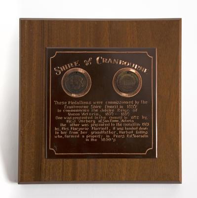 Commemorative plaque with medallions, Queen Victoria diamond jubilee