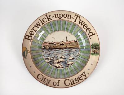 Commemorative plate, for the City of Casey from the Borough of Berwick-upon-Tweed