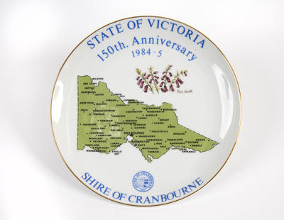 Eight porcelain plates commemorating 150 years of the State of Victoria