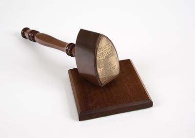 Gavel and block, commemorating the first council of the City of Berwick