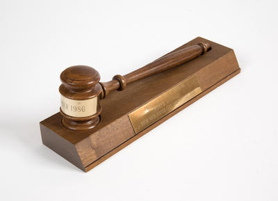 Presentation gavel and board, from sister city Springfield, Ohio